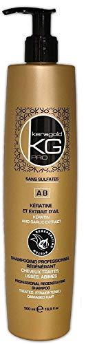 KERAGOLD PRO Shampoing sans Sulfates à Keratine/Extrait d'Ail, 1 L