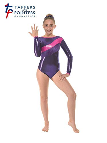 Tappers and Pointers GYM34 - Maillot de Gimnasia de Manga Larga, Color Amazon Shine/Navy Suave Terciopelo/Astro Aqua Foil, tamaño 0 (4-5 Years)