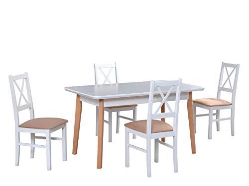 Mirjan24 Esstisch mit 4 Stühlen DM32, Sitzgruppe, Küchentisch, Esstischgruppe, Esszimmer Set, Esstisch Stuhlset, Esszimmergarnitur, DMXZ (Weiß Natürliche Buche/Weiß Etna 22)