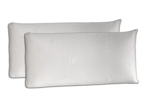 Dormio - Pack de 2 unidades, almohada viscoelástica con adaptabilidad al cuello, tejido Aloe Vera, termorregulable, 75 cm, blanco