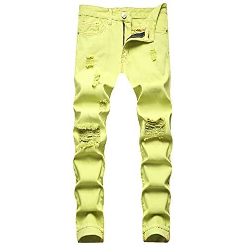 CCLYQ Pantalones de algodón de Color de neón de Color Elegante de los Hombres Streetwear Slim Straight Pantalones Holidos Pantalones Rippados Pantalones Roseados Pink Amarillo 32