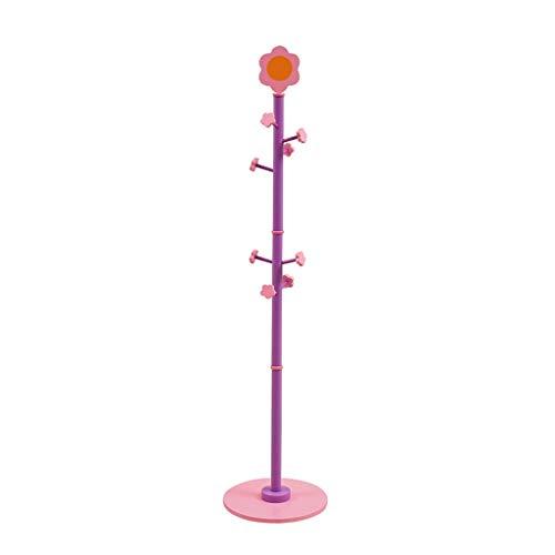 LOMJK Percheros Creativa Moderna de la Flor Escudo Forma Bastidor de Madera niños de pie Perchero for los Abrigos Sombreros Bolsas niñas Ropa de estanterías (Color : Purple Pink)