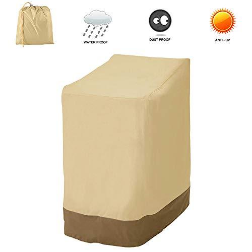 willkey Schutzhülle Gartenstühle Gartenstuhl Abdeckung Wasserdicht, Winddicht, UV-Beständiges 210D Oxford für Gartenstuhl, Stapelstühle 114x85x65cm (Khaki 420D)
