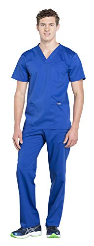 Cherokee Workwear Revolution Men's Medical Uniforms Scrub Set Bundle - WW670 V-Neck Top & WW140 Drawstring Cargo Pants (Galaxy Blue - XXXX-Large/XXXXX-Large)