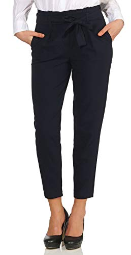 ONLY NOS Damen Hose onlNICOLE Paperbag Ankel Pants WVN NOOS, Blau ( Night Sky), W31/L30(Herstellergröße: 40)