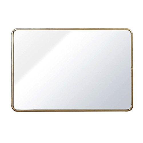 Espejos de pared, Espejo montado en la Pared Espejo de suspensión Rectangular Redondeado Borde de Metal Espejo de baño Espejo de Entrada de Espejo (Color : Gold, Size : 50 * 70cm)