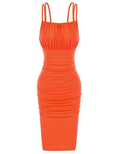 GRACE KARIN Donna Vestito Elegante Bodycon Abiti da Party Senza Manica Design Pieghettato Arancione...