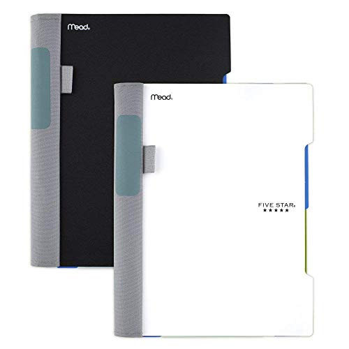 """Five Star Advance Spiral Notebooks, 2 Subject, College Ruled Paper, 100 Sheets, 9-1/2"""" x 6"""", Black, White, 2 Pack (38636)"""