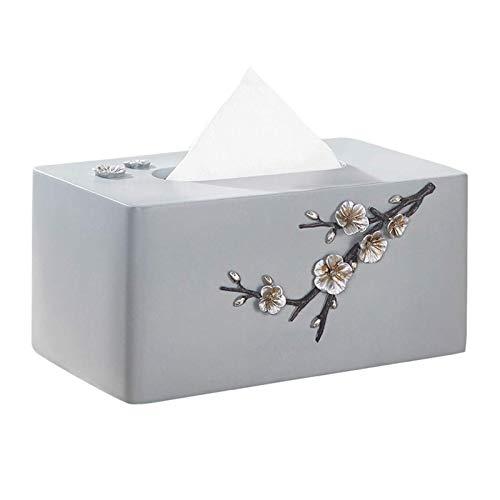 Z-Color Caja de Almacenamiento de Toalla de Papel de Papel, Caja de pauelos de Resina Estilo clsico Simple Plum Ciruelo Tallado Sala de Estar Mesa de caf Mesa de Escritorio Caja de pauelo