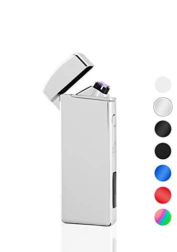 TESLA Lighter T14 Silber Lichtbogen Feuerzeug USB Aufladbar Elektro Sturmfest Plasma Doppel-Lichtbogen mit Akku
