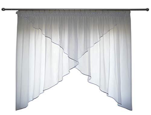 FKL mooi kant-en-klaar gordijn raamgordijn van voile gordijn rookband schuine ramen wit 150-180 cm AG38 Bezet violet