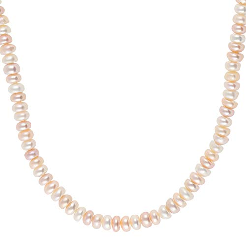 Perlenkette echt Silber 925 Sterling mit Perlen rosa 45 cm lang Damen Halskette