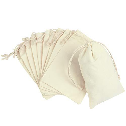 YeahiBaby 10Pcs Sacs de Cadeau de Cordon de Coton pour la faveur de Noce, Sacs tissés par 100% Coton (10x14cm)