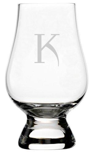 Celtic Etched Monogram Glencairn Crystal Whisky Glass (Letter K)