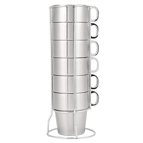 Juego de taza de café de agua apilable de acero inoxidable antiescaldamiento de doble capa con soporte para portavasos