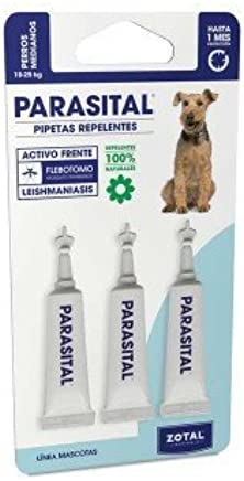 Parasital Pipetas Antiparasitarias para Perros Medianos de 10 a 25 kg - 3x2,5ml de Zotal - Activo Contra Leishmaniasis y demás Mosquitos, Pulgas y Garrapatas