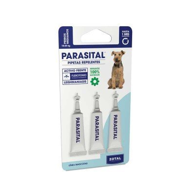 Parasital Pipetas Antiparasitarias para Perros Medianos de 10 a 25 kg - 3x3ml de Zotal - Activo Contra Leishmaniasis y demás Mosquitos, Pulgas y Garrapatas