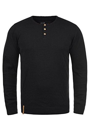 Indicode Donte Herren Strickpullover Feinstrick Pullover Mit Rundhals Und Knopfleiste, Größe:L, Farbe:Black (999)