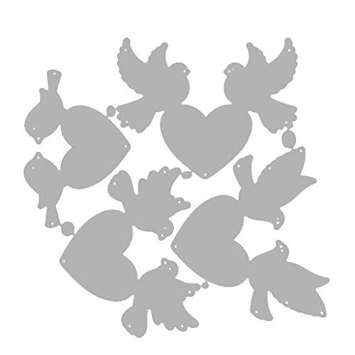 Qiman Vogel Herz Metall Stanzformen Schablone, DIY Album Briefmarke Karte, Scrapbooking, Kartenherstellung, Papierhandwerk, Themeneinladungen, Albumdekoration, Fotorahmen
