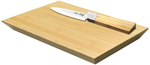 COOKUT BB10 Set Couteau, Planche Bambou S, Manche Lame Fine Céramique