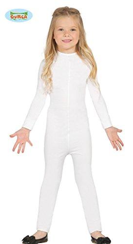 Guirca elastischer weißer Ganzkörperanzug Karneval Fasching weiß für Kinder Gr. 104-146, Größe:140/146