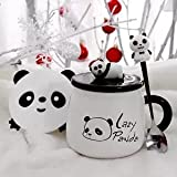 Tazza da caffè con panda da caffè, tazza da colazione, grande capacità, bicchiere da latte creativo, in ceramica, con coperchio e cucchiaio, tazza da caffè (colore: verde)