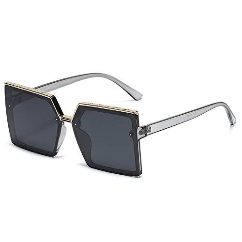 Cuadrado marco grande moda marco cuadrado gafas de sol hombres y mujeres par gafas de sol personalizado sunshade espejo-transparente gris oro marco negro gris pieza