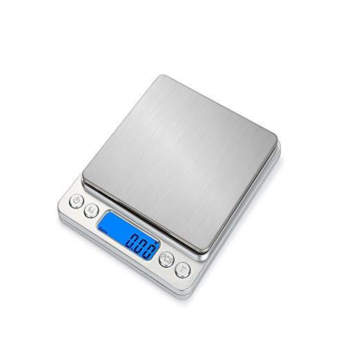 huangliqing2019 Bilance da Cucina LCD elettroniche da Cucina Portatili in Acciaio Inossidabile HT-I200 3000 g / 0,1 g Argento