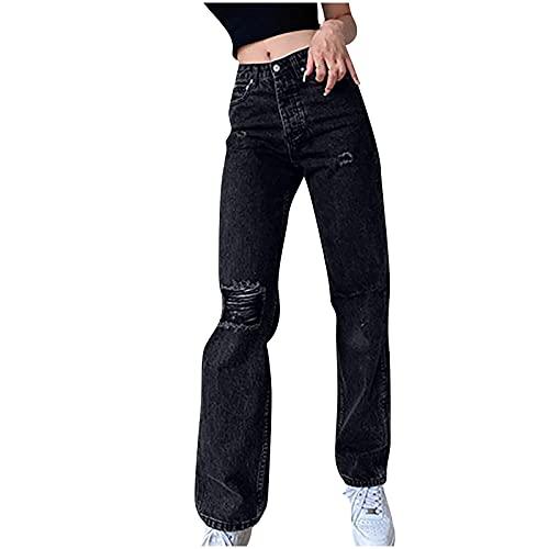 Y2K - Pantalones vaqueros para mujer, estilo boyfriend, cintura alta, elásticos, estilo vintage, Negro , XXL