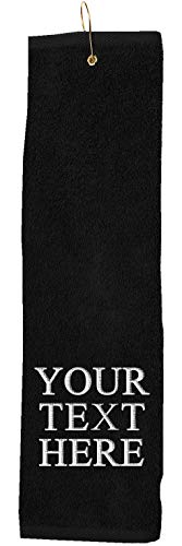 Personalized Custom Golf Towel - Add Your Embroidered Name or Monogram - Trifold Golf Towels with Grommet and Carabiner...