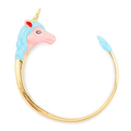 Monkimau Damen Armbänder Einhorn Armreifen aus Messing mit Gold plattiert Pink handbemalt