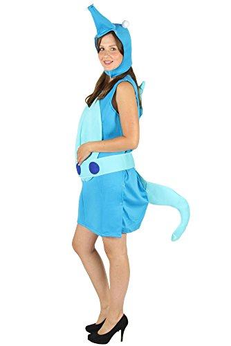 Foxxeo Seepferdchen Kostüm in blau-grün für Erwachsene, Größe:XXL/XXXL
