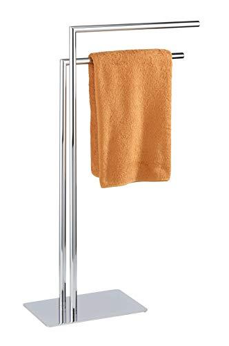 WENKO Handtuchhalter Recco, freistehender Handtuch-Ständer mit 2 parallelen Armen, standfeste Bodenplatte, Verchromtes Metall, 48 x 80.5 x 20 cm, Chrom