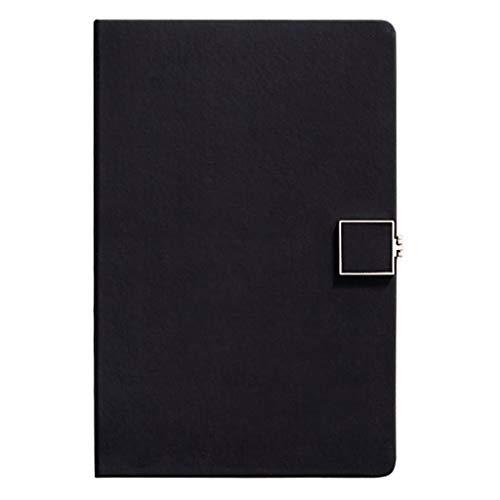 WPBOY Cuaderno clásico con forro A5 de piel sintética a rayas, hebilla magnética cuadrada de metal, para el trabajo, negocios, oficina, cuello blanco, para estudiantes, diario, cuaderno (color negro)