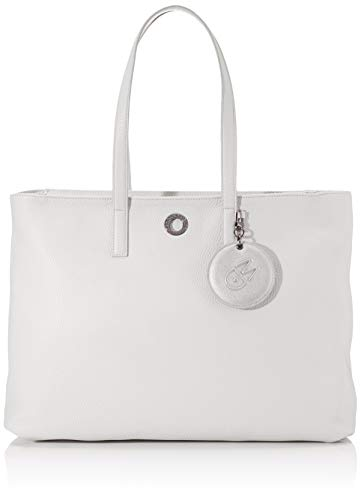 Mandarina Duck Mellow Leather Tracolla, Bolsa de mensajero para Mujer, Gris (Mist), 14x30x40 Centimeters (W x H x L)