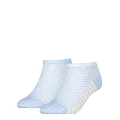 Tommy Hilfiger Summer Stripes Women's Sneaker-Trainer Socks (2 Pack) Chaussettes, Bleu Clair, 39-42 Femme