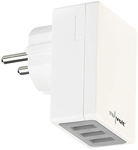 reVolt USB Netzteil: Kompaktes 3-Port-USB-Wandnetzteil mit Smart-Power-Technologie, 17 Watt (Steckdose USB)