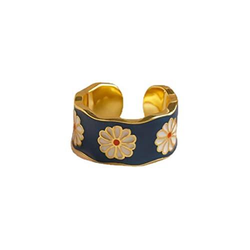 CeFoney - Anello estivo con margherite, stile vintage, con fiori intrecciati, stile boho, regolabile, con margherite, unisex, regalo per gli amanti