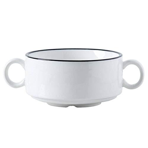 JLWM Tazones De Consomé Tazón Para Sopa Con Asa, 300ML Ensalada Postre Estofado Hornear Huevo Al Vapor Ceramica Desayuno Gachas-Blanco