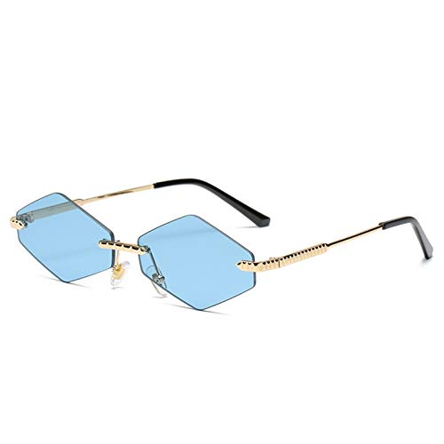 Bomoka 2 gafas de sol de moda, gafas de sol sin montura de diamante, gafas de sol de moda, personalidad divertida, estuche de regalo (tamaño: 06)