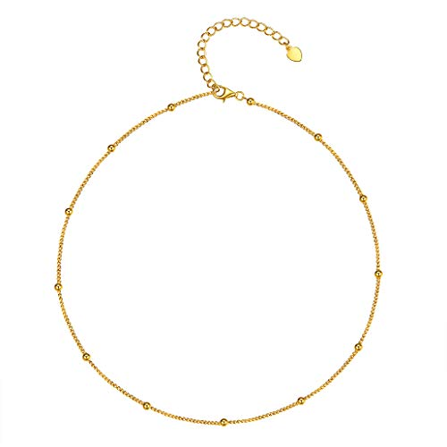 Silvora Layered Choker Necklace 13 inches, Lava Bead Pendant Necklace, 18K Gold Dainty Delicate Satellite Beaded Chains with Gift Box (Gold)
