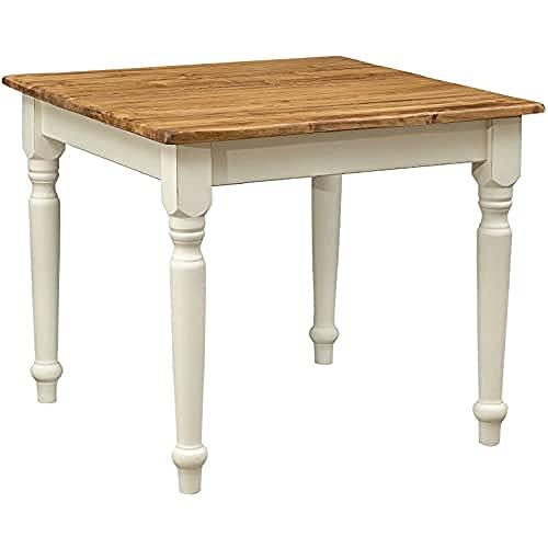 Table à rallonge style champêtre en bois massif de tilleul avec structure antique blanche et plateau en finition naturelle L90xPR90xH78 cm