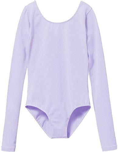 MdnMd Classic Basic Long Sleeve Ballet Dance Gymnastic Leotard for Girls Kids Bodysuit Outfit (Purple, Age 8-10)