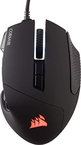 Corsair Scimitar Pro RGB - Ratón óptico para juegos (retroiluminación RGB, 16000 dpi, con Cable, 17 botones laterales programables), Negro