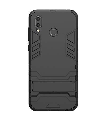 FANFO Huawei Honor Play Hülle, [Tough Armour Series] Rugged Anti-Scratch PC Rückwand Schale + Shockproof TPU Stoßfänger + Faltbarer Halterungen.schwarz