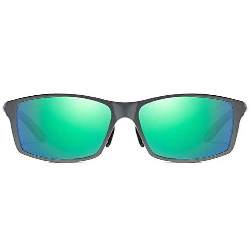 KCGNBQING Gafas de sol Clásico Antideslumbrante Aluminio-magnesio Gafas de sol Gris Marco Gris/Verde Lente Hombre Polarizado Conducción Gafas de sol Moda Hombre Gafas de sol Hombres (Color: Verde)