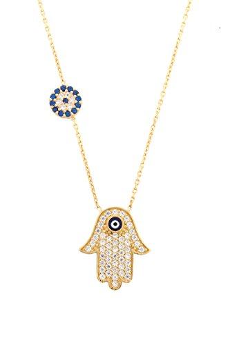 Remi Bijou 925 Sterling Silber - Halskette Fatimas Hand Türkisches Auge Nazar Boncuk, ColorName:Gold