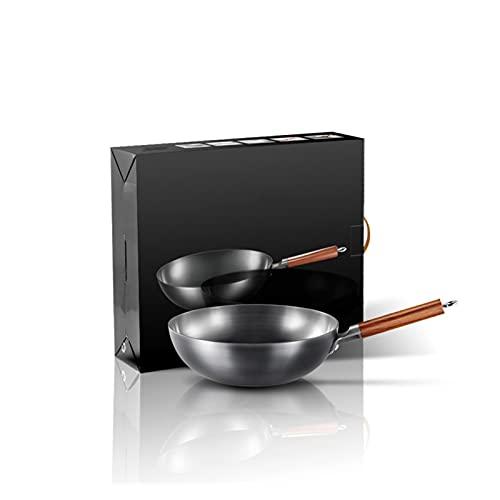 YINZHI Ferro di Alta qualità Wok Tradizionale Iron Tradizionale Ferro a Mano Wok Non-Stick Pan Non Rivestimento induzione e pentole a Forma di Cucina (Color : 32cm)