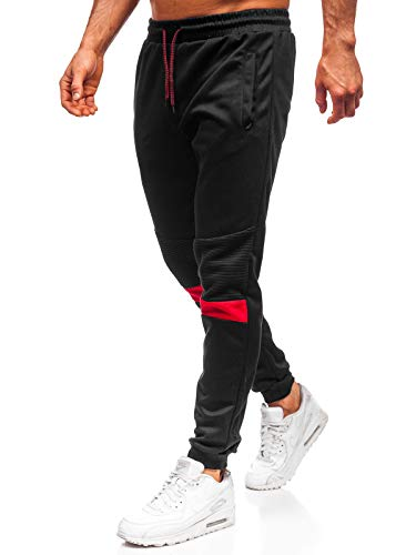BOLF Herren Jogginghose Sporthose Trainingshose Jogger Sweathose Fitnesshose Jogpants Fußballhose Sweatpants Beinabschluss Pants Baumwolle Slim Fit J.Style JZ11016 Schwarz M [6F6]