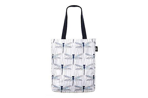PULP Stylische geräumige Shopper Einkaufstasche Schultertasche Strandtasche Tasche Umhängetasche mit Reißverschluss Medium (Libellen)
